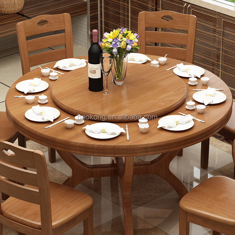 Antique Solid Wood Round Rotating Dining Table Chairs