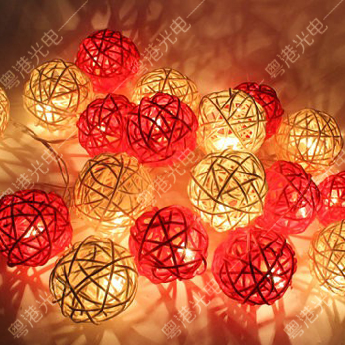 Outdoor Vintage Patio Globe String Lights Rattan Ball Light For Yard         2 jpg