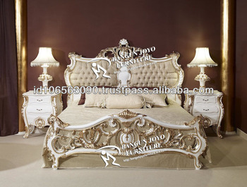 Racoco Antique Headboard Carved With Gold Leaf Italian Design Bed     Racoco antique headboard carved with gold leaf italian design bed   BJ RF58