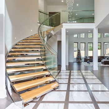 Curved Glass Stairs Stainless Steel Balustrade Round Staircase | Curved Glass Stair Railing | Residential Glass | Commercial Glass | Band Glass | Walnut | Frameless Glass