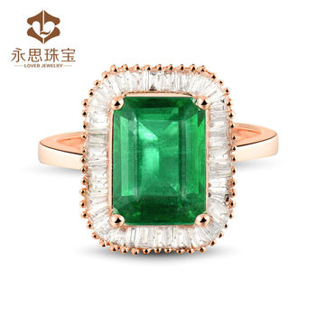 Grande  Naturel Colombie Emerald Anneau Baguette Diamond Emerald     Naturel colombie Emerald anneau  Baguette Diamond Emerald bague en 18 K or  Rose
