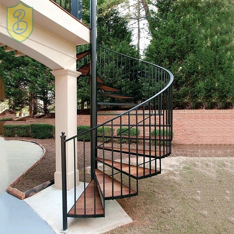 China Manufacture Iron Outdoor Modern Iron Process Characteristic | Modern Stairs Design Outdoor | Indoor | Prefab Metal Residential Exterior | Terrace | Metal | Railing