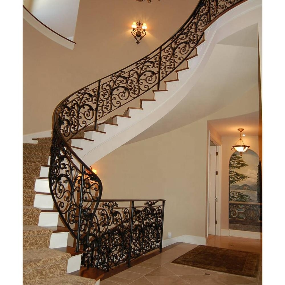 Modern House Wrought Iron Stair Railing Galvanized Iron Handrail   Wrought Iron Stair Railing   Italian   Front Porch   French   Mediterranean   Design