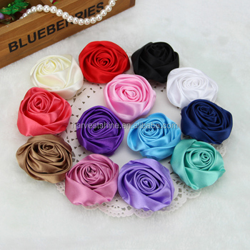 Handmade Satin Ribbon Rose Fabric Flowers Brooch Silk Flowers Bulk     Handmade satin ribbon rose fabric flowers brooch silk flowers bulk