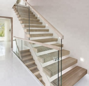 Wooden Staircase Design With Glass | Stair Railing Design Modern With Glass | L Shape | Interior Residential Metal | Simplistic | Grill | Button Glass