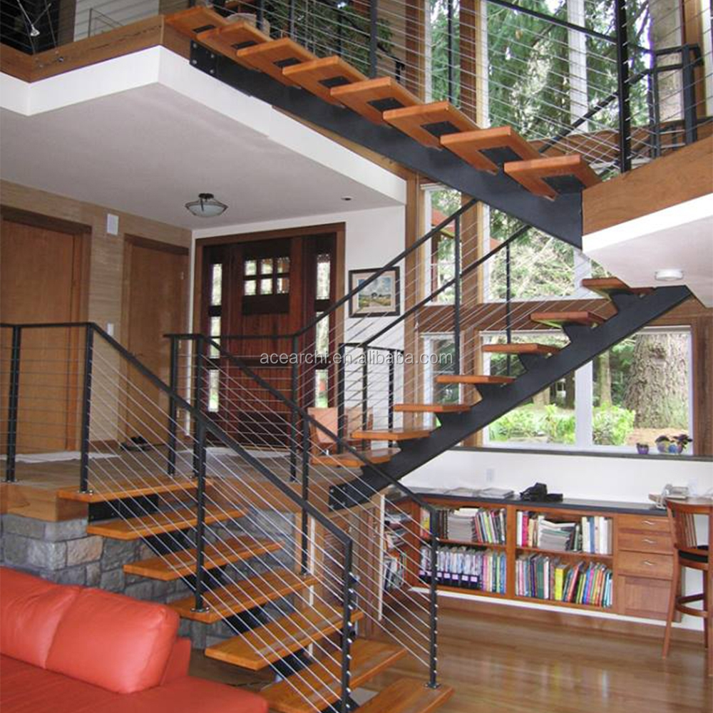Cantilevered Steel Staircase With Solid Wood Stair Tread And | Powder Coated Handrails For Stairs | Ornamental Iron | Metal | Deck Railing | Wrought Iron Balusters | Balcony