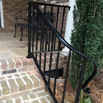 Nolens Outdoor Black Metal Stair Railing Wrought Iron Stairs Buy | Black Outdoor Stair Railing | Interior Stair | Modern | Pipe | Composite Deck | 2 Step