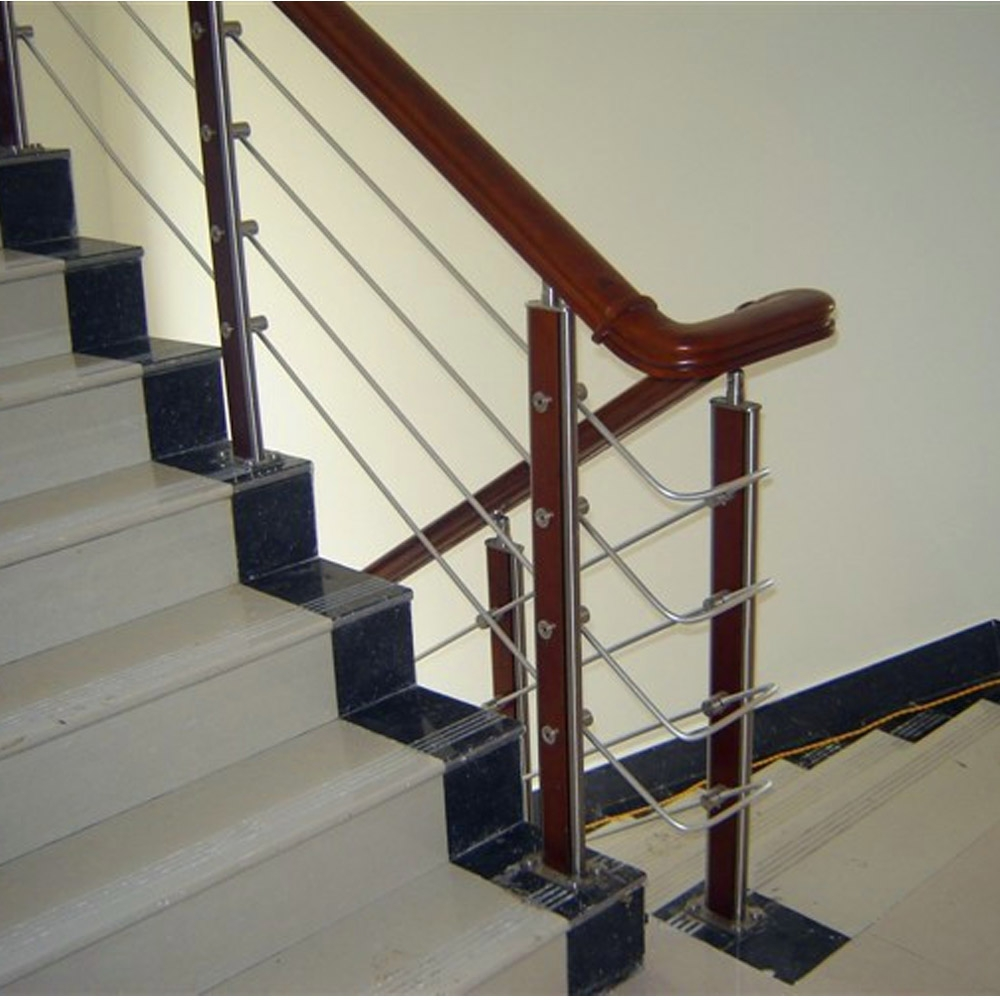 Hot Sale Stainless Steel With Wood Railings For Stair For Villa | Wood And Steel Handrail | Outdoor | Column | Stainless Steel | Balustrade | Ultra Modern Steel