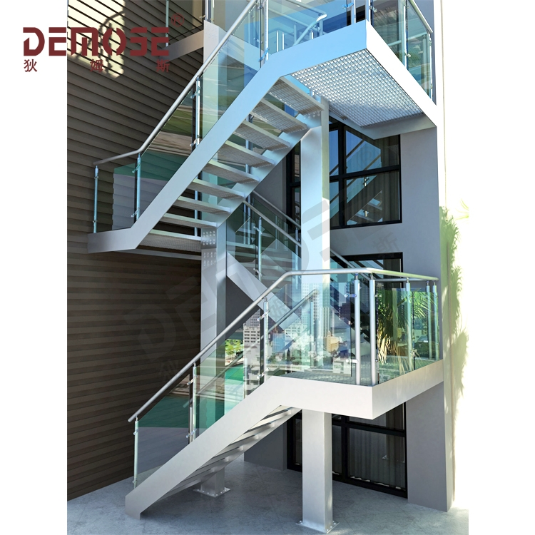 Exterior Outdoor Steel Staircase With Mild Steel Railing Grill | Outdoor Steel Staircase Design | Steel Framed Exterior | Indoor | Vertical Wire Balustrade | Prefabricated Steel | Stair Handrail