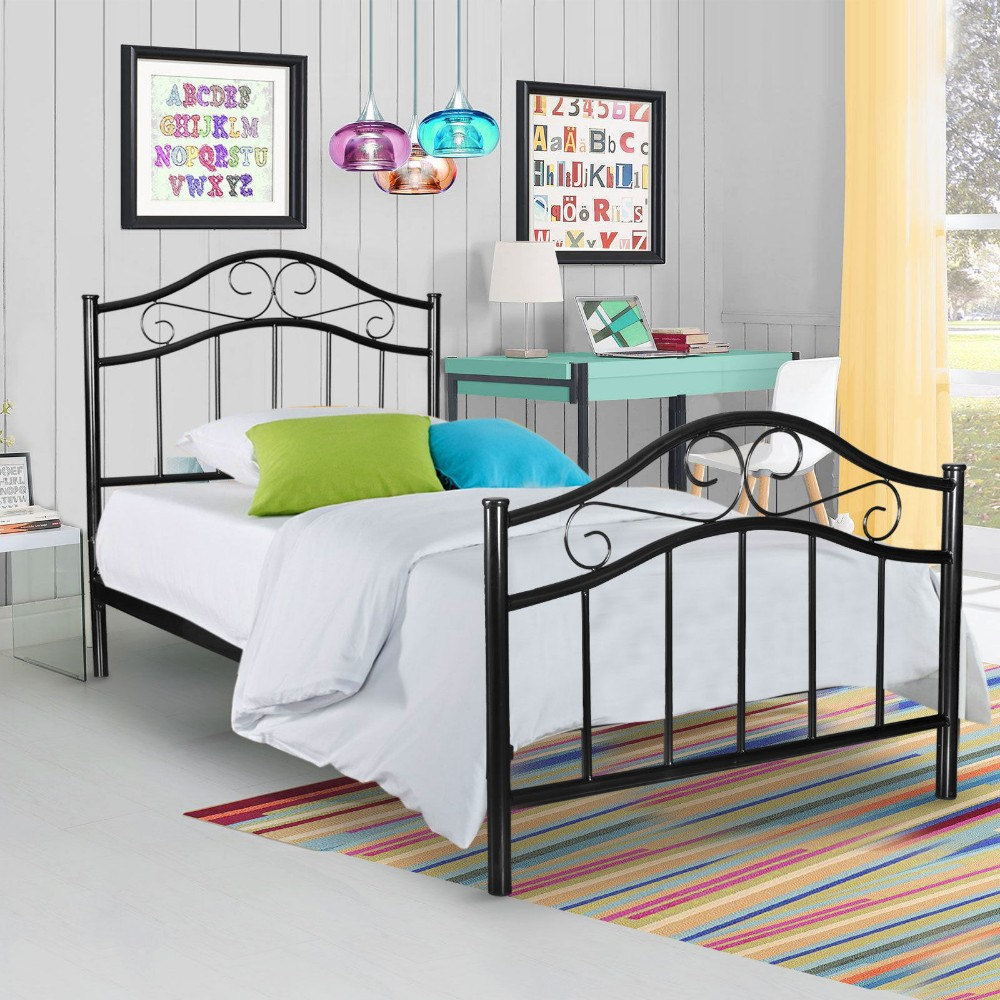 Modern Queen Size Wrought Iron Bed Design Canopy Metal