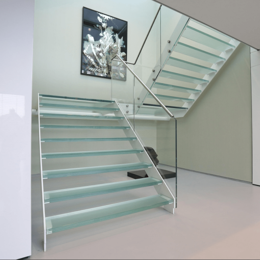 Stainless Steel Glass Staircase Design Fancy Modern Stair Buy | Stainless Steel Glass Staircase | Transparent | Handle | Powder Coated Steel | Open Tread | Black Stained