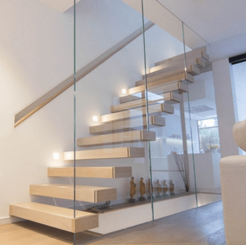 New Design Modern Glass Floating Stairs Staircase With Led Lights   Modern Glass Staircase Design   Half Wall Glass   Marble Floor Glass   Modern Style   Stainless Steel   Stair Case