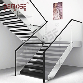 Concrete Steps Wood Steps Single Steel Stringer Glass Handrail   Handrails For Concrete Steps   Concrete Surface Mount Stair Railing   Back Patio   Premade   Landing   Deck Stair