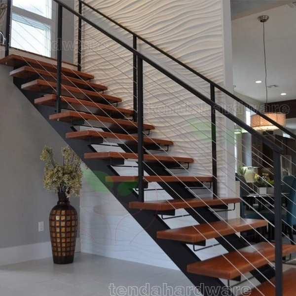L Shape Double Stringer Wood Treads Straight Stairs With C Beam | Metal Stairs With Wood Treads | Straight Steel | Single Steel Stringer | I Beam | Metal Railing | Timber