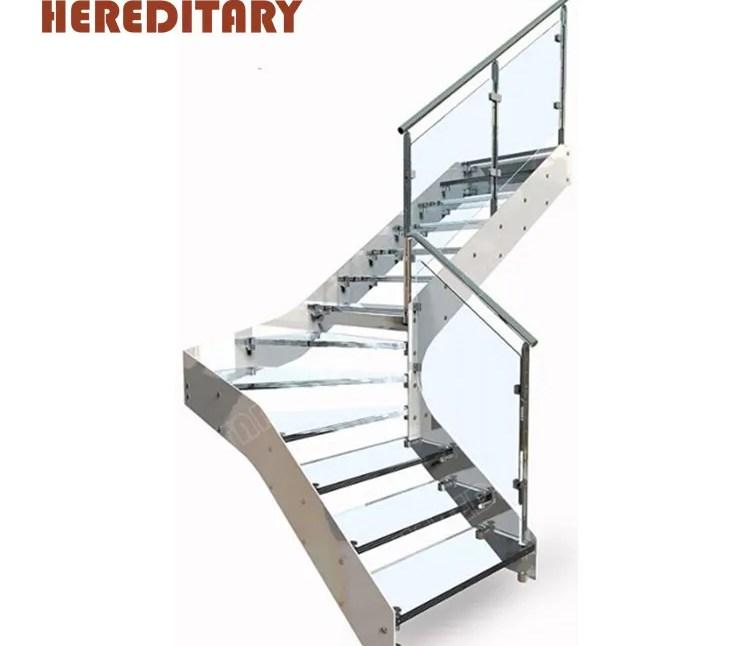 Industrial Laminate Glass Stair Treads Kit Stainless Steel Metal | Glass Stair Treads Cost | Floating | Steel | Handrail | Hardwood | Wood