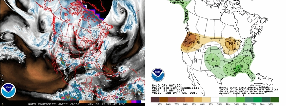 NOAA SciJinks    How to Read a Weather Map On the left is an image of water vapor captured by GOES satellites on May 30