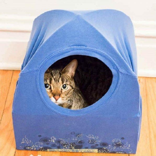 Домик для кота из футболки