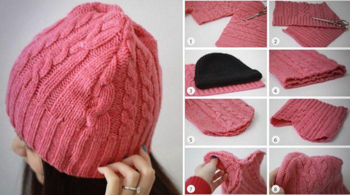 セーターの帽子