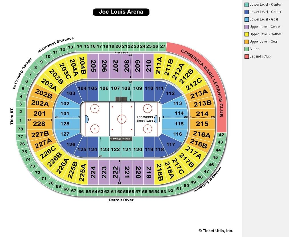 Joe Louis Arena Seating Chart Maps