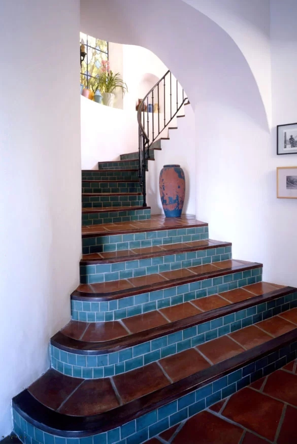95 Ingenious Stairway Design Ideas For Your Staircase Remodel   Wood And Tile Stairs   Rocell Living Room   Tile Floor   Basement   Quarter Round Stair Hardwood   White