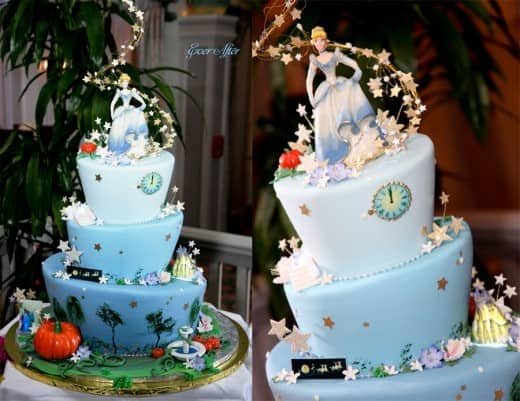 Wedding Cake Wednesday  Cinderella s Ball   Disney Weddings  Disney     Look no further than this Cinderella inspired dessert  With a little help  from some lovable mice and the Fairy Godmother  this cake fits the bride  and groom