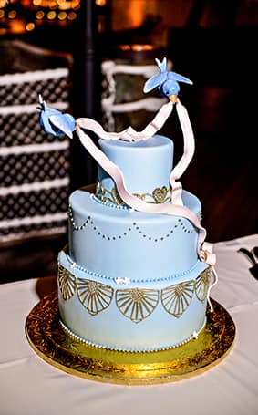 Wedding Cake Wednesday  Cinderella s Bluebirds   Disney Weddings         for Cinderella  I m sure baking this wedding cake was an easy task   This sweet and charming cake is perfect for anyone seeking a subtle touch  of