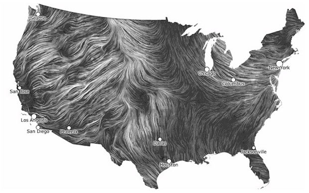 Wind Map of US patterns blows you away   Telegraph Wind Map of US patterns blows you away