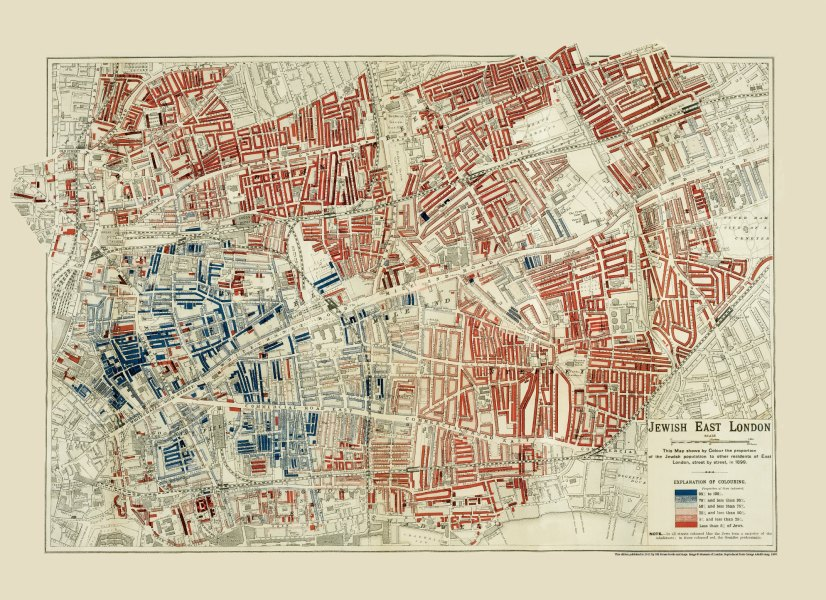 Map jewish london   Historical London maps   Travel Jewish East London  click here to see a full hi res version   London