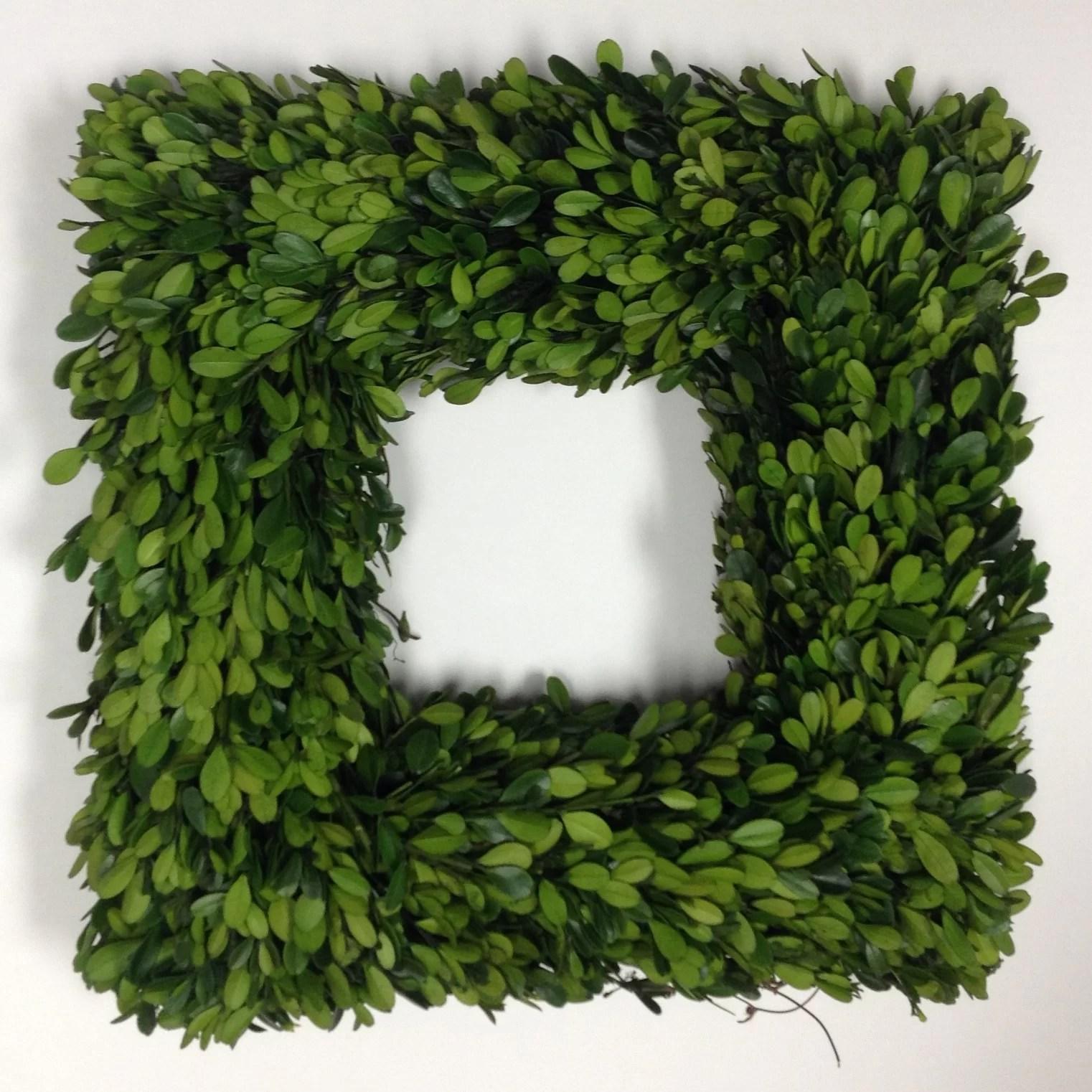 Mills Floral Boxwood Square Wreath & Reviews | Wayfair