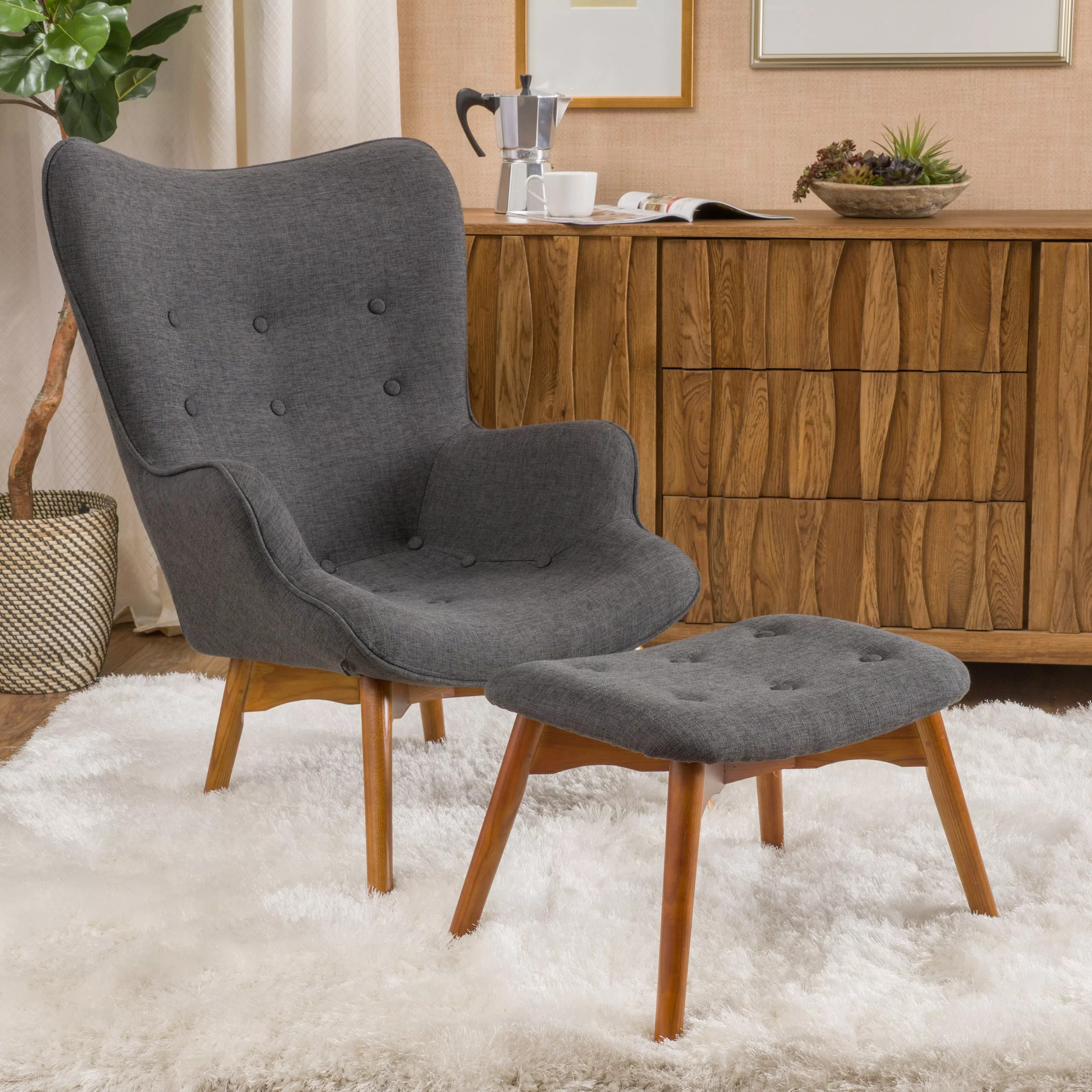 Teal Accent Chair Ottoman