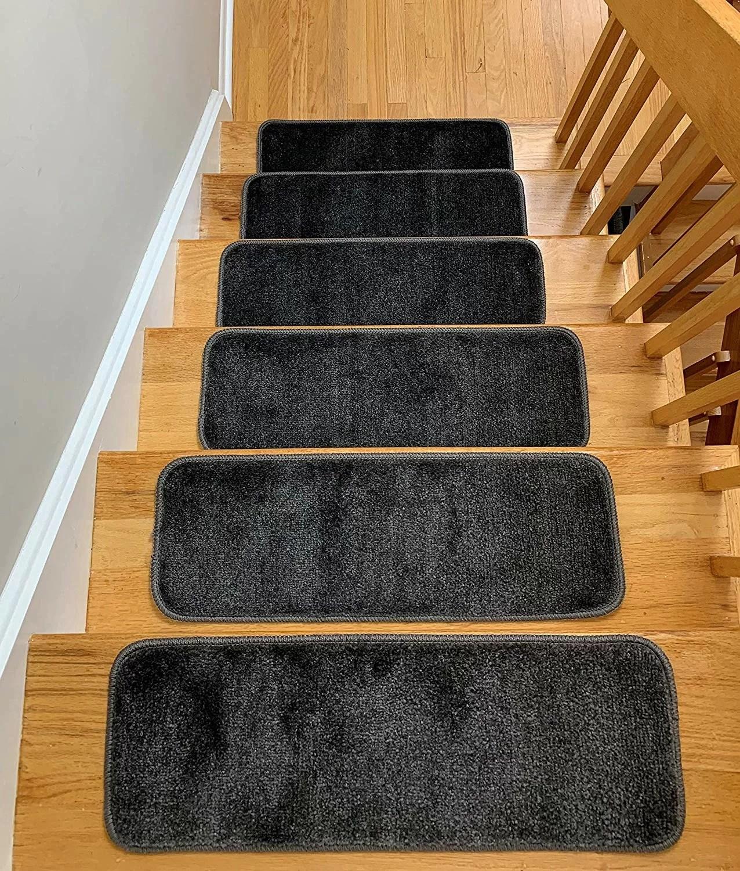 "Runners For Wooden Steps Carpet Stair Treads Non Slip 8""X30"" Brown | Anti Slip Carpet For Stairs | Slip Resistant | Indoor Stair | Skid Resistant | Self Adhesive | Bullnose Carpet"
