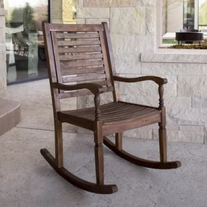 Three Posts Zinnia Solid Acacia Wood Patio Rocking Chair   Reviews     Zinnia Solid Acacia Wood Patio Rocking Chair