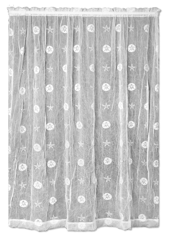 Heritage Lace Sand Dollar Graphic Print & Text Sheer Rod ...