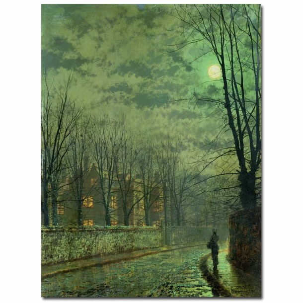 'Going Home by Moonlight' by John Atkinson Grimshaw Painting Print on Canvas