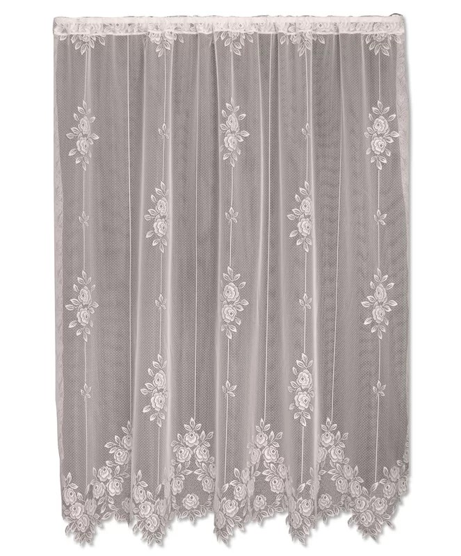 Heritage Lace Tea Rose Graphic Print & Text Sheer Rod ...