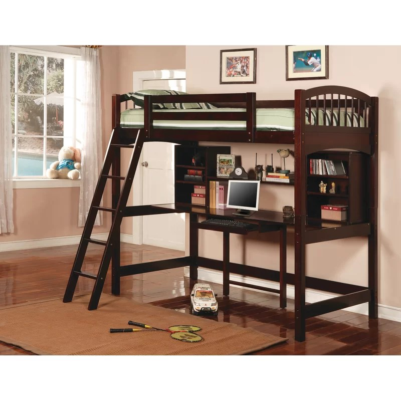 Dorena Twin Loft Bed with Bookcase and Shelves