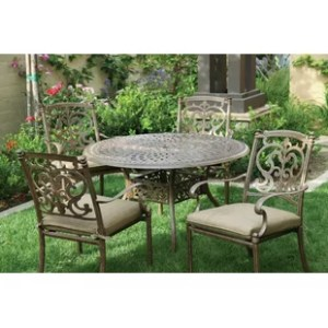 Metal Retro Outdoor Furniture   Wayfair Palazzo Sasso 5 Piece Metal Frame Dining Set with Cushions
