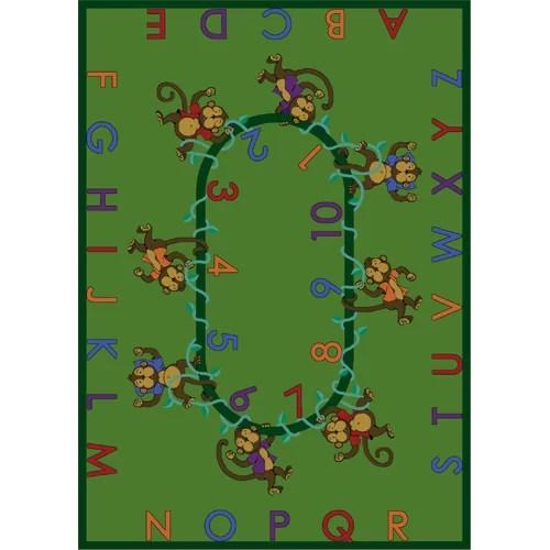 Educational Monkey Business Green Rug