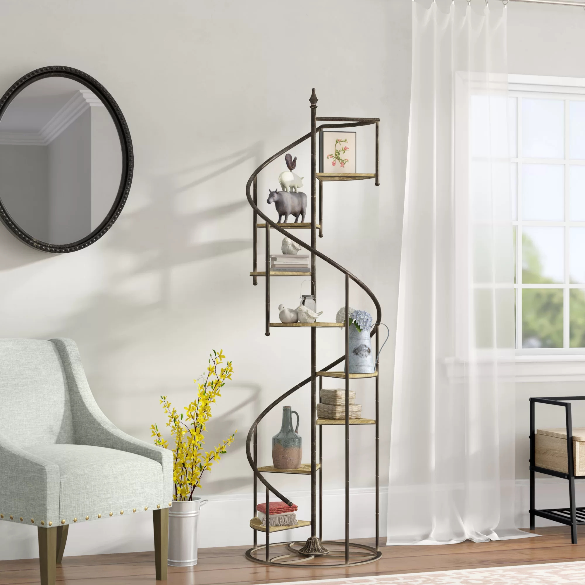 Laurel Foundry Modern Farmhouse Shauna Spiral Staircase Geometric | 36 Inch Spiral Staircase | Steel | Staircase Kits | Building Code | Steps | Stair Case