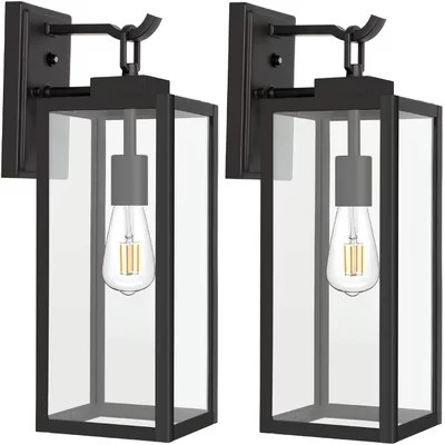 Sale Mcnelly Black 1 Bulb 12 8 H Integrated Led Outdoor Wall Lantern With Dusk To Dawn Furniture Online