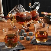 This uniquely shaped El Matador Bull bourbon decanter set is sure to be one that you won't have any beef with. The set also comes with two engraved glasses and 9 whiskey stones, making it the perfect setup for a great night of drinking your favorite brown liquor. The Bull decanter set is also a fantastic gift for the guy you know who absolutely loves their bourbon. Your father or husband is sure to immediately feel more manly when they're drinking from their bourbon decanter set. They'll love...