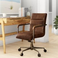 Whether at home or at work, if you spend a lot of time in the office, you want to have the right chair. Perched atop a five-point base, it's set aloft five wheels for must-have mobility. Crafted from manufactured wood, this piece features a squared design with two metal arms for a traditional touch, while a center tilt and full swivel offer some convenience. Upholstered in leather for an inviting feel, this chair sports neutral hues that blend effortlessly with your color scheme.