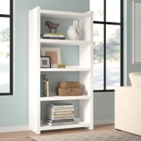 Whether you need extra storage space or you want to round out your room with a personal touch, this clean-lined bookcase is the perfect addition to your arrangement. Crafted from manufactured wood, this piece features four shelves that provide a place for books, baskets filled with supplies, framed family photos, and more. A neutral finish helps this design blend with a variety of color palettes and aesthetics, while its open back gives it an airy and updated look. Full assembly is required.