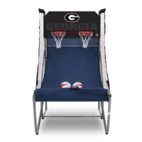 "This is an NCAA officially licensed collegiate game.  This Home Dual Shot is not only the best home basketball arcade game, but it's also the best basketball arcade game period. The same sturdy construction (1.5"" tubes and a solid 1/2″ backboard), wheels for mobility and a heavy-duty nylon ball ramp. Then added extension tubes, so you can tailor the height of the game (it even fits under 7' ceilings).  A proprietary scoring system that is the most accurate you've ever seen and..."