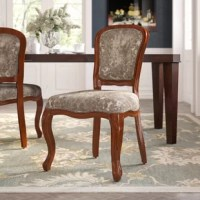 Traditional in style, these dining chairs are perfect for adding elegance to your home. The chairs feature crushed velvet upholstery. Deep carved lines add interest to the chair frame. Perfect for placing in a formal dining room.