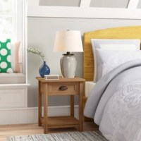Whether holding the TV remote and framed family photos in the living room or keeping tabs on reading glasses and a lamp by your bedside, this end table is a stylish and versatile addition to your abode. Crafted from manufactured wood, it strikes a clean-lined silhouette and boasts a solid, neutral finish that blends with nearly any color palette. Plus, it includes a lower shelf and one drawer with a cup pull for keeping clutter under control.