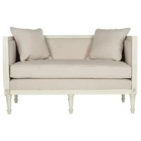 Full of French country flair without forgetting function, this tasteful settee is a welcome addition to your bedroom or seating group. Crafted of solid rubberwood and manufactured wood, its clean-lined frame spans 53