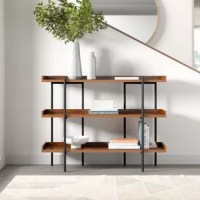 The spot where storage meets style, this etagere bookcase is ideal for organizing the entryway or stowing serve-ware in the dining room. For a look that works well in minimalist and modern inspired abodes, it pairs a steel frame with three manufactured wood shelves. It holds its own while still staying versatile with neutral solid tones. The manufacturer for this product provides a limited one-year warranty. Full assembly is required upon arrival.