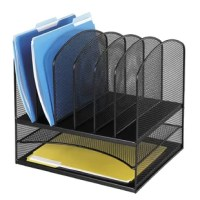 Organize your office with six sections for binders and folders above two horizontal letter-size trays. Perfect desk storage that is easily accessible.