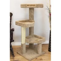 Our new solid wood large cat tree is perfect for the multiple cat families or families with larger breeds who need the extra space for lounging and sleeping. This multi-level cat house has cat perches that have deep set edges which make it great for kitty to take a nap. Our solid wood large cat tree also comes with a large sisal rope cat scratching post which helps to promote healthy nails and scratching behaviors. This cat tree will require minimal assembly of just one piece with no tools...